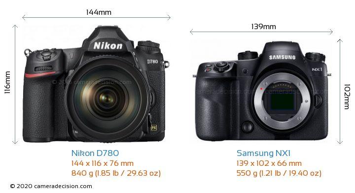 Nikon D780 vs Samsung NX1 Camera Size Comparison - Front View