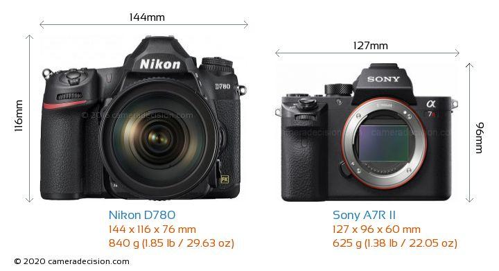 Nikon D780 vs Sony A7R II Camera Size Comparison - Front View