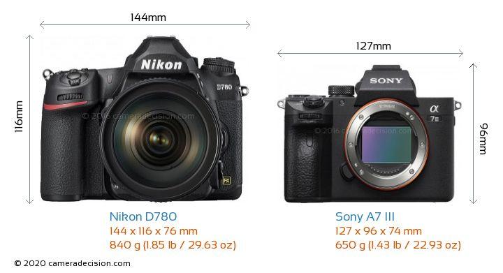 Nikon D780 vs Sony A7 III Camera Size Comparison - Front View