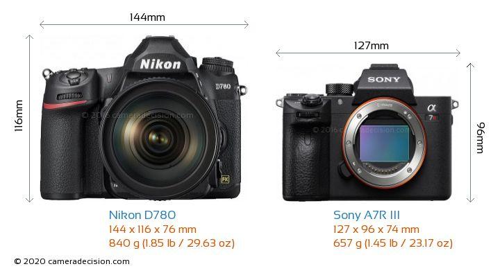Nikon D780 vs Sony A7R III Camera Size Comparison - Front View