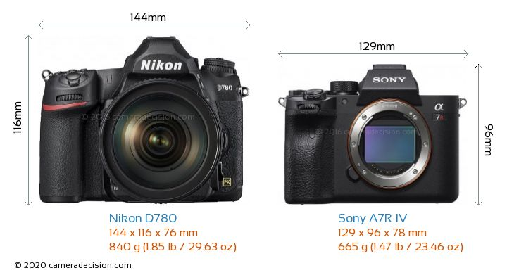 Nikon D780 vs Sony A7R IV Camera Size Comparison - Front View