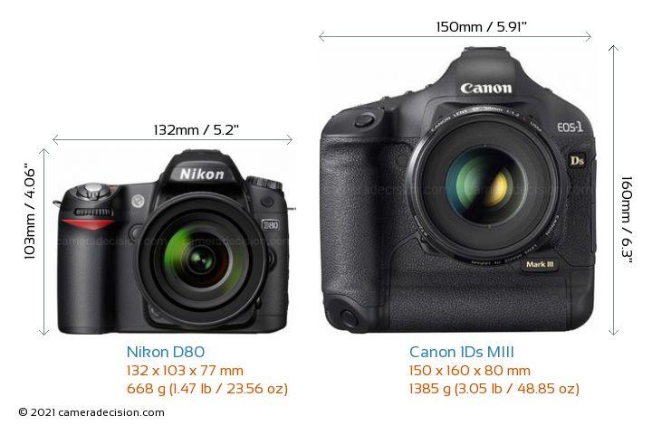 Nikon D80 vs Canon 1Ds MIII : Physical Specs Comparison