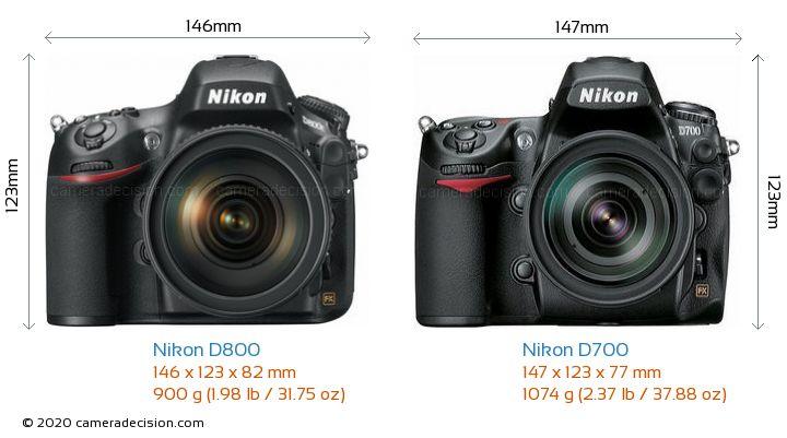Nikon D800 vs Nikon D700 Camera Size Comparison - Front View
