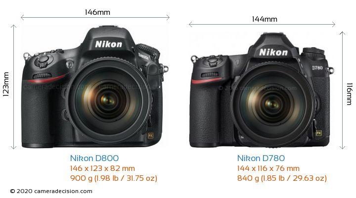Nikon D800 vs Nikon D780 Camera Size Comparison - Front View