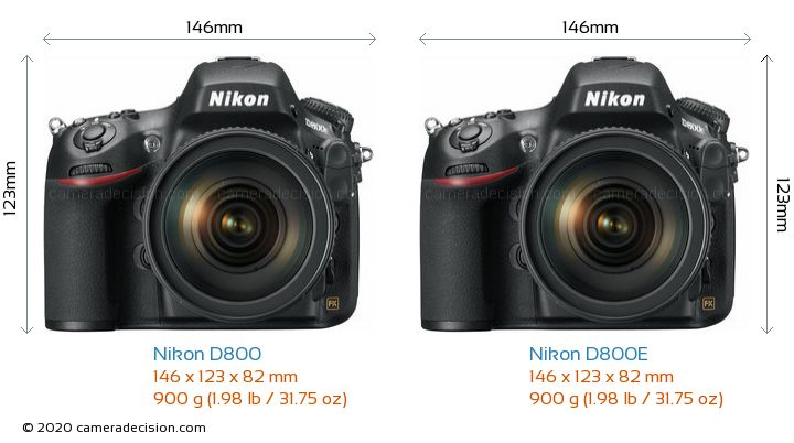 Nikon D800 vs Nikon D800E Camera Size Comparison - Front View