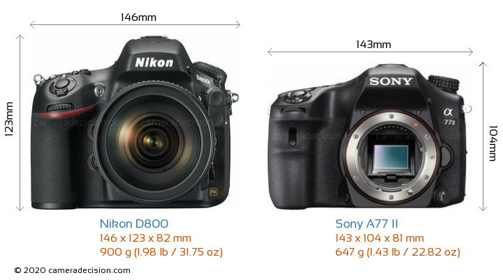 Nikon D800 vs Sony A77 II Camera Size Comparison - Front View