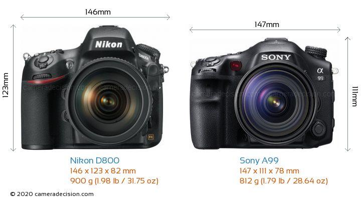 Nikon D800 vs Sony A99 Camera Size Comparison - Front View
