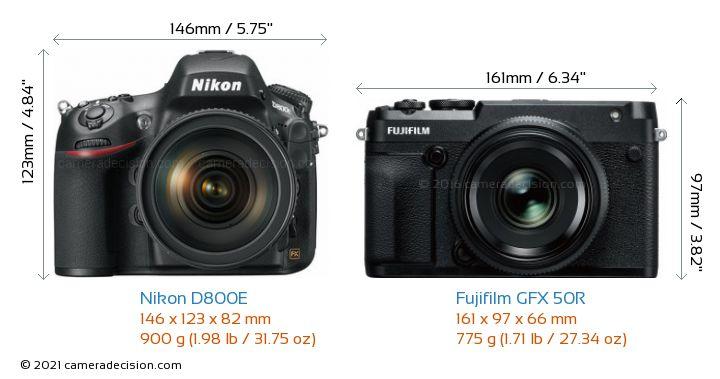 Nikon D800E vs Fujifilm GFX 50R Camera Size Comparison - Front View