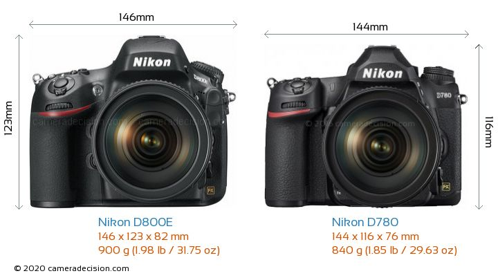 Nikon D800E vs Nikon D780 Camera Size Comparison - Front View