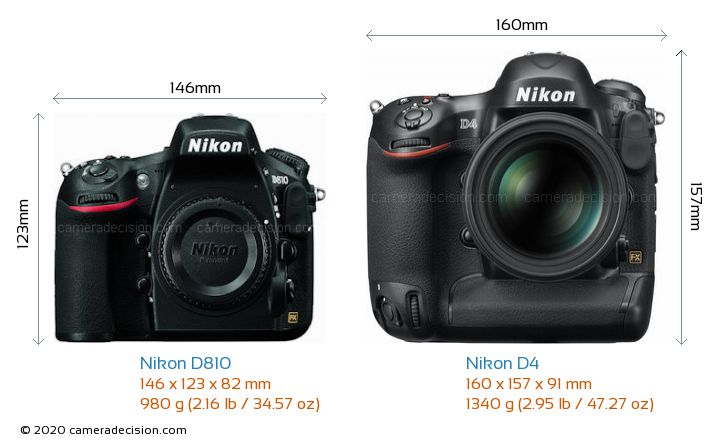 Nikon D810 vs Nikon D4 Camera Size Comparison - Front View