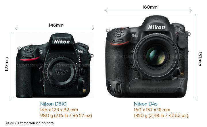 Nikon D810 vs Nikon D4s Camera Size Comparison - Front View