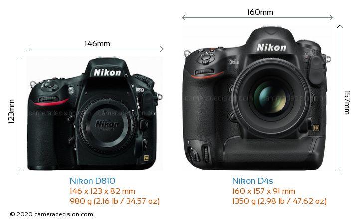 Nikon D810 vs Nikon D4s Camera Size Comparison - Front View