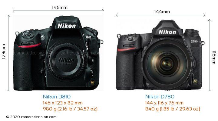 Nikon D810 vs Nikon D780 Camera Size Comparison - Front View