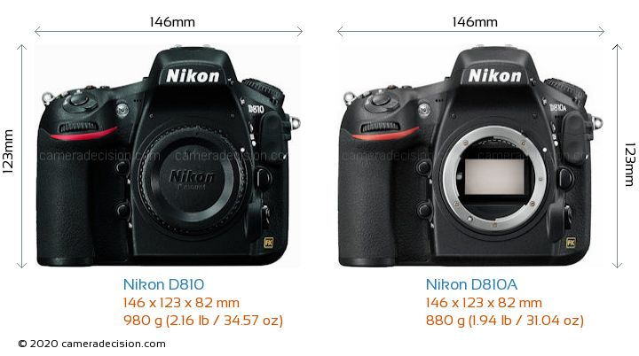 Nikon D810 vs Nikon D810A Camera Size Comparison - Front View