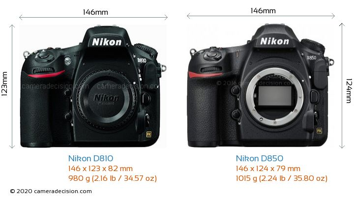 Nikon D810 vs Nikon D850 Camera Size Comparison - Front View