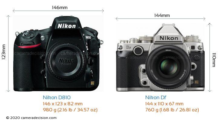 Nikon D810 vs Nikon Df Camera Size Comparison - Front View