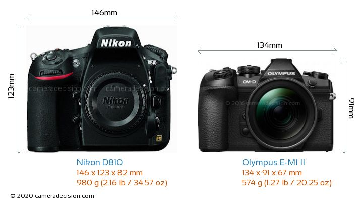 Nikon D810 vs Olympus E-M1 II Camera Size Comparison - Front View