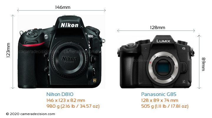 Nikon D810 vs Panasonic G85 Camera Size Comparison - Front View