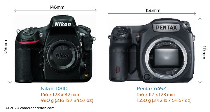 Nikon D810 vs Pentax 645Z Camera Size Comparison - Front View
