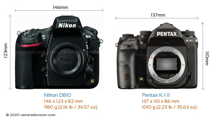 Nikon D810 vs Pentax K-1 II Camera Size Comparison - Front View