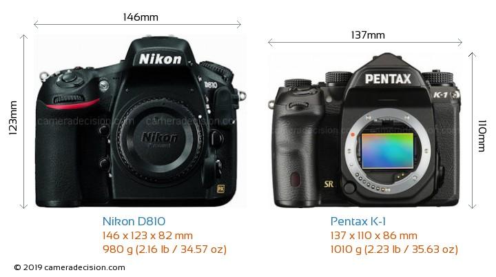 Nikon D810 vs Pentax K-1 Camera Size Comparison - Front View