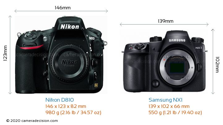 Nikon D810 vs Samsung NX1 Camera Size Comparison - Front View