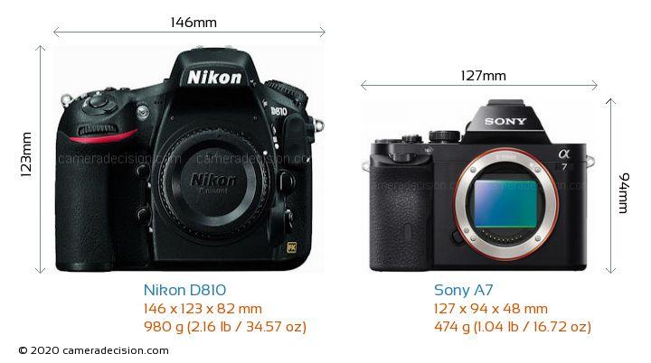Nikon D810 vs Sony A7 Camera Size Comparison - Front View
