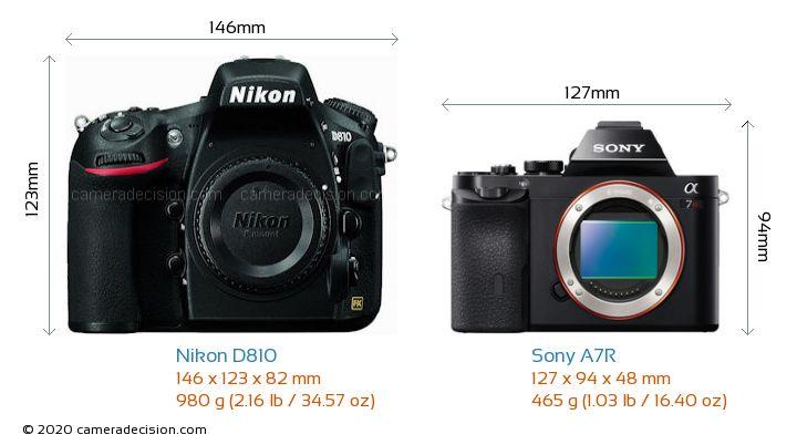 Nikon D810 vs Sony A7R Camera Size Comparison - Front View