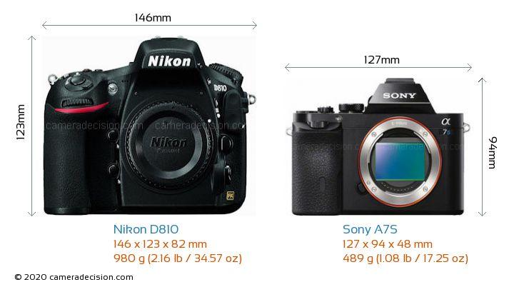 Nikon D810 vs Sony A7S Camera Size Comparison - Front View