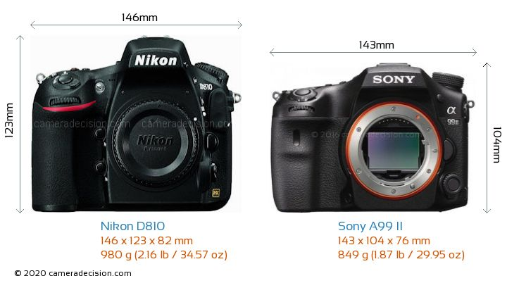 Nikon D810 vs Sony A99 II Camera Size Comparison - Front View