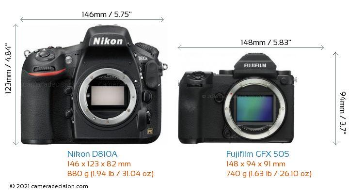 Nikon D810A vs Fujifilm GFX 50S Camera Size Comparison - Front View