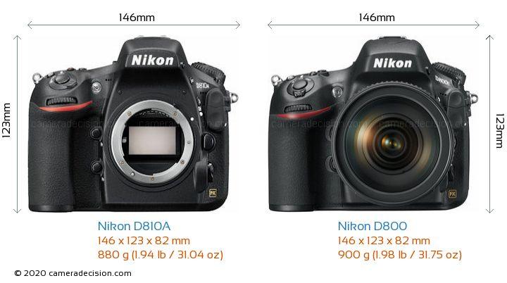 Nikon D810A vs Nikon D800 Camera Size Comparison - Front View