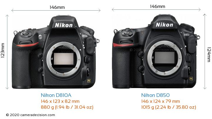Nikon D810A vs Nikon D850 Camera Size Comparison - Front View
