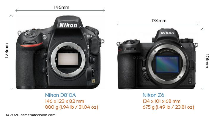Nikon D810A vs Nikon Z6 Camera Size Comparison - Front View