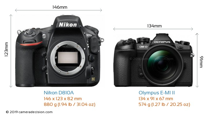 Nikon D810A vs Olympus E-M1 II Camera Size Comparison - Front View
