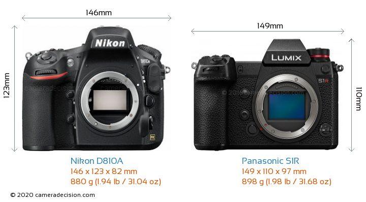 Nikon D810A vs Panasonic S1R Camera Size Comparison - Front View