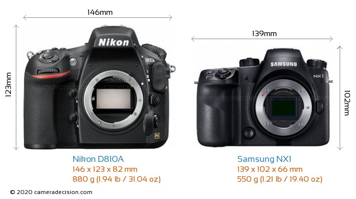 Nikon D810A vs Samsung NX1 Camera Size Comparison - Front View