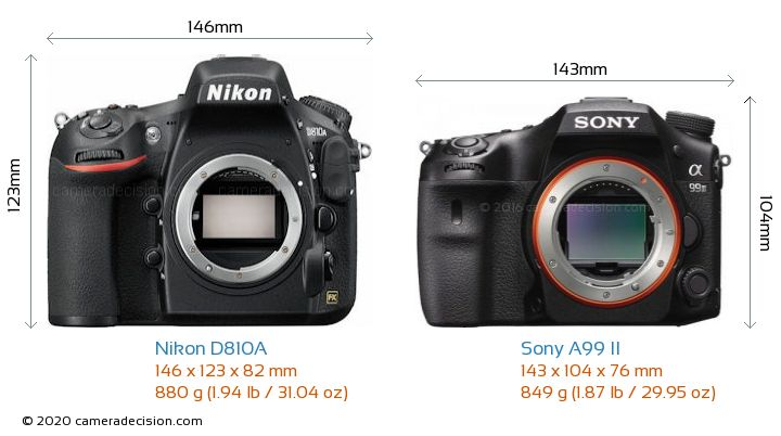 Nikon D810A vs Sony A99 II Camera Size Comparison - Front View