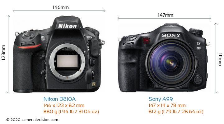 Nikon D810A vs Sony A99 Camera Size Comparison - Front View