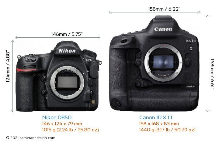 Nikon D850 vs Canon 1D X III Camera Size Comparison - Front View