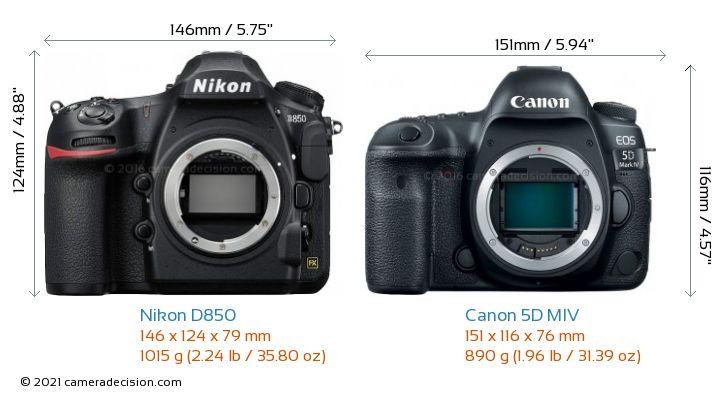 Nikon D850 vs Canon 5D MIV Camera Size Comparison - Front View