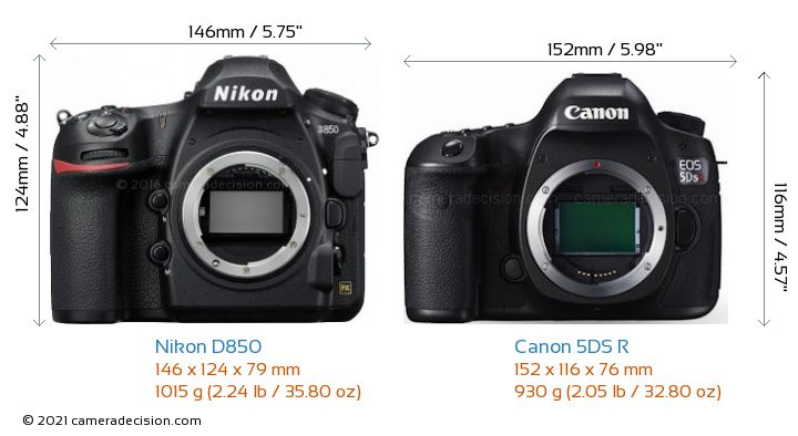 Nikon D850 vs Canon 5DS R Camera Size Comparison - Front View
