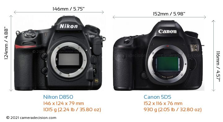Nikon D850 vs Canon 5DS Camera Size Comparison - Front View