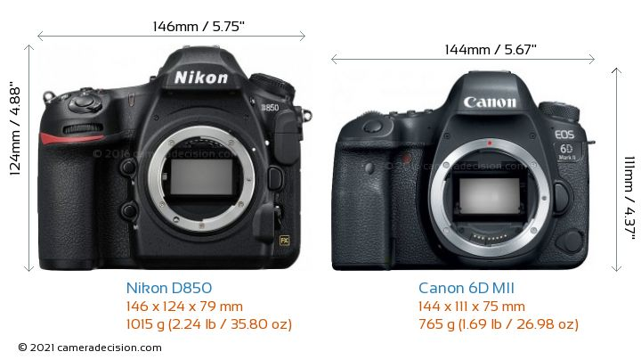 Nikon D850 vs Canon 6D MII Camera Size Comparison - Front View