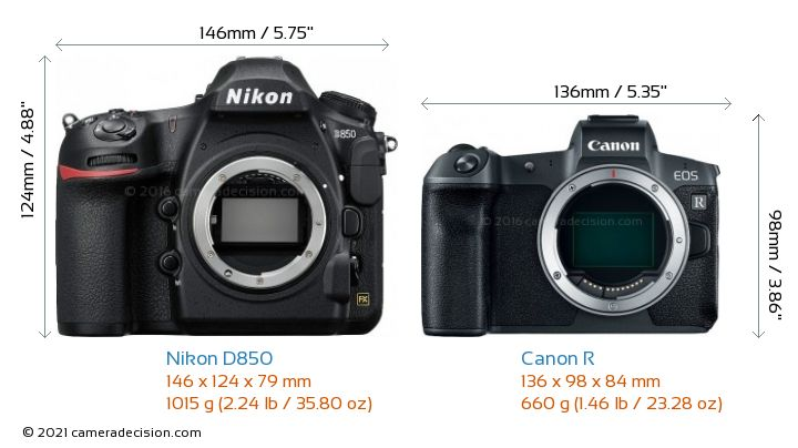 Nikon D850 vs Canon R Camera Size Comparison - Front View