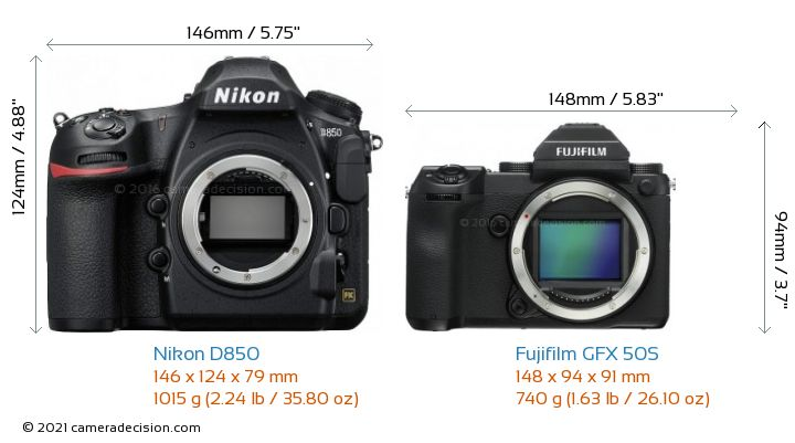 Nikon D850 vs Fujifilm GFX 50S Camera Size Comparison - Front View