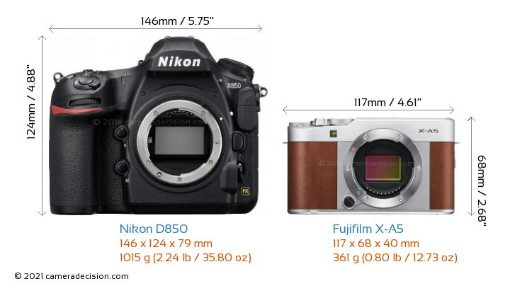 Nikon D850 vs Fujifilm X-A5 Camera Size Comparison - Front View
