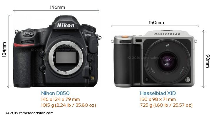 Nikon D850 vs Hasselblad X1D Camera Size Comparison - Front View