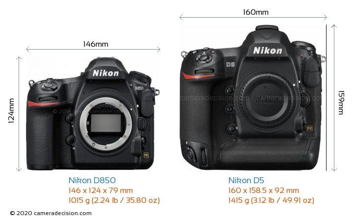 Nikon D850 vs Nikon D5 Camera Size Comparison - Front View