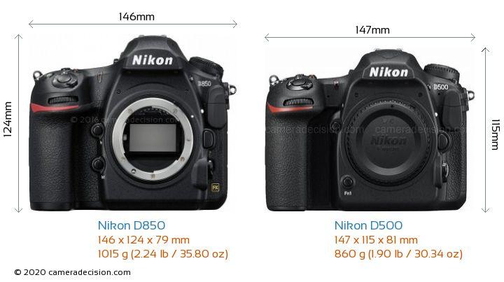 Nikon D850 vs Nikon D500 Camera Size Comparison - Front View